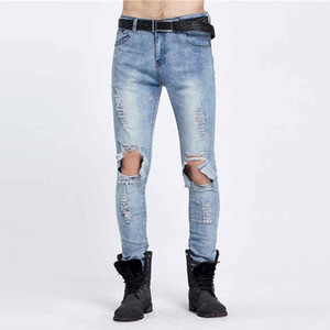 Wholesale-  Designer Slim Fit Ripped Jeans Men Hi-Street Mens Distressed Denim Joggers Knee Holes Washed Destroyed Jeans