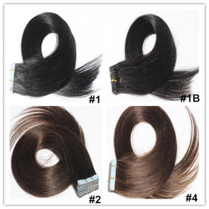 Wholesale Tape In Human Hair Extensions Silky Straight Brazilian Human Hair Tape Extensions 40Pcs Set Skin Weft Hair Extensions