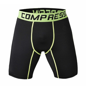 Wholesale- New Running Sport Mens Basketball Tight Compression Shorts Gym Fitness Clothing Training Wicking Short Pants Homme Men
