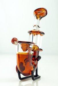 Amber Sherlock tubo de cristal de la mano quemador de tubos cortos Mini Fumar pipa de cristal Blunt tubería para hierba seca