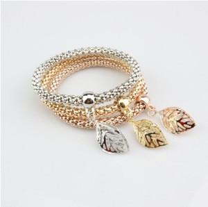 Moda Stretch Corda Pulseira Set Três Em Uma Pulseira De Prata De Ouro Rosa Banhado A Ouro Conjuntos De Pulseira De Cadeia De Milho