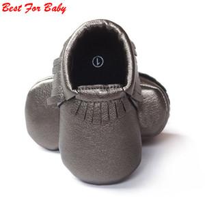 Al por mayor- Borlas 26 colores PU Zapatos de bebé de cuero Mocasines para bebés Zapatos para recién nacidos Infantes suaves Zapatos de cuna Zapatillas de deporte Primer caminante