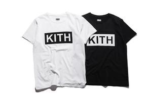 Mens homens roupas de verão camisetas KITH Cartas Moda Impresso T legal Tops Manga Curta Crew Neck Tees Man Mulheres Branco Preto