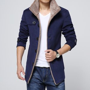 Wholesale- 2017 NEW solid Winter Fashion Brand Coat Men Middle Long Jackets And Coats Mens Warm Overcoat M-3XL 4XL