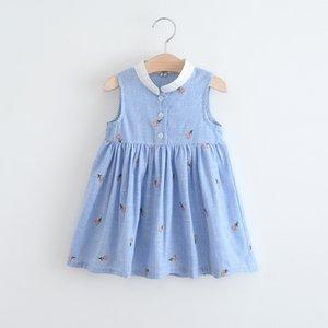 2018 sıcak satmak Kore tarzı yeni gelenler Kızlar Güzel kolsuz Çiçek nakış kız elbise gündelik moda pamuk elbise ücretsiz kargo