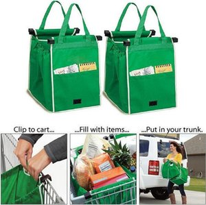 Wholesale- 2017 Reusable Large Trolley Clip-To-Cart Supermarket Shopping Bags Portable Cloth Bag Foldable Green Tote Bags