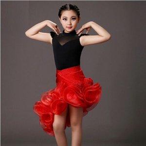2018 paillettes latine fille noir et rouge enfants costumes de danse costume + jupe ensembles pour la performance enfants samba costumes salsa robe frange