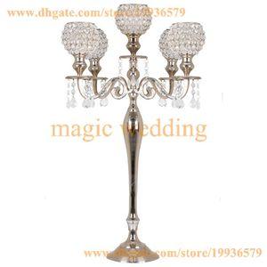 Candélabre de mariage à 5 bras avec cristal suspendu perlé pour la décoration de centres de table de mariage
