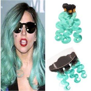 레이스 정면 두 톤 1b 녹색 옴브 헤어 번들 녹색 인간의 머리카락 번들 3PCS 귀에 레이스 정면 폐쇄 귀에 1PC
