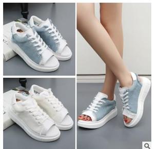 Mulher Sandálias Das Mulheres Sapatos de Plataforma de Verão Cunhas Sapatos de Lona Estilo Moda Casual Legal Malha de Ar Bling Cristal Do Dedo Do Pé Aberto de Borracha Mulheres Sapatos