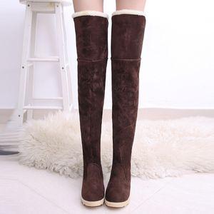 Hiver long fourrure bottes de neige noir femmes daim sur le genou chaussures tube féminin longues bottes Tenis Feminino Zapatos Mujer