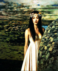 Young naked Chinese girl in white dress in landscape nice Hand painted portrait Art Oil Painting Thick Canvas,Multi sizes P0027