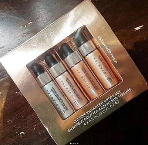 Lo nuevo 4pcs polvo cara resaltado maquillaje conjunto Glow CUBIERTA FX personalizado Enhancer gotas 4,5 ml de líquido Resaltadores Cosméticos envío libre