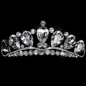 Çarpıcı Parlak Yüksek Kalite Büyük Rhinestone Kristal Pageant Tiara Taç Gelin Aksesuarları Parti Prenses Kraliçe Headpieces Ücretsiz Kargo
