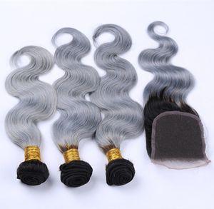 Ombre 2 ton renk brezilyalı bakire saç vücut dalga 3 demetleri siyah kök gümüş gri İnsan saç örgü dantel kapatma ile