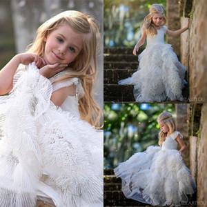 Güzellik Pageants Çocuklar için Elbise Gelinlikler 2019 Plaj Kat Uzunluk Ruffles Küçük Kızlar İlk Komünyon Elbiseler Düğün Çiçek Elbise