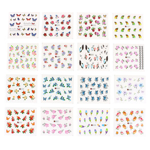 Wholesale- 50 Sheets/Set 5*6.5cm Mixed Flower Water Transfer Nail Stickers Decals Art Tips Decoration Manicure Stickers Ongles