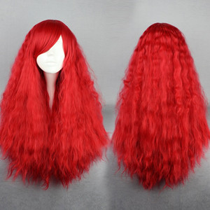 MCOSER Livraison Gratuite Haute Qualité Synthétique 70 cm Longue Bouclés Sexy Rouge Dame Lolita Perruque De Halloween
