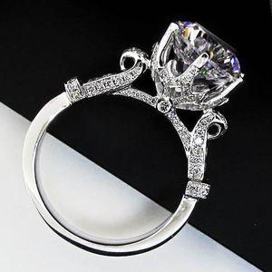 4 ct infalível anel de noivado para Mulheres Pure 925 platinadas Anéis Certified Redonda Cut NSCD Synthetic Diamond Rings