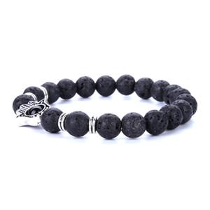 Envío gratis estilo de la mezcla hecho con amor Lava piedra difusor de la joyería Natural Volcanic Rock 8 mm Charm pulseras oración hombres perlas pulsera 2017