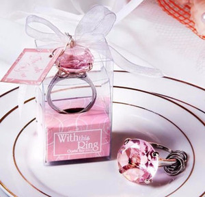 100pcs Diamant bague forme trousseau Key accessoires choix 5 couleur New Cheap home party Favorise les cadeaux de mariage