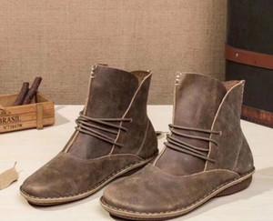 Toptan sattığınız daireler hakiki deri kadın lace up boots eski kahverengi kahve deri kaliteli moda ayak bileği patik size35-40