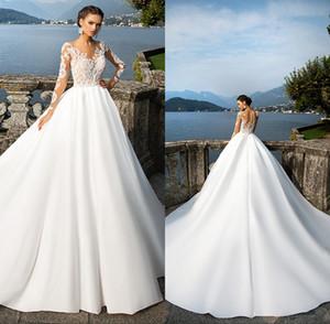 Praia Sheer manga comprida vestidos de casamento Jewel Neck botões Voltar Lace apliques de cetim vestido de baile vestidos de casamento vestido de noiva