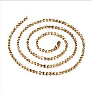 Мода черный / золото / серебро цвет покрытием 24 дюймов мяч цепи ожерелье из нержавеющей стали золото цепи ожерелье прохладный ожерелья NC-002