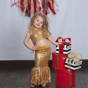 Sparkling Gold Zwei Stücke Blumenmädchen Kleider Juwel Mermaid Röcke Erstkommunion Kleid Pailletten Meerjungfrau Kinder Party Kleid Weihnachten Kleid
