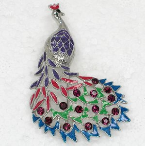 Wholesale Fashion Brooch Rhinestone Colorful Enamel Peacock Pin brooches Bridal Wedding party jewelry Gift C101535
