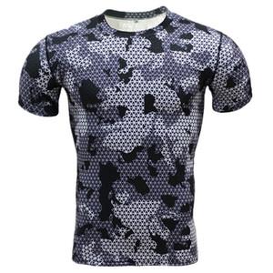 Atacado-Camuflagem Compressão de Verão Camisa Ocasional 2016 Homens de Fitness Collants de Manga Curta Musculação Crossfit Flash Camo T-Shirt