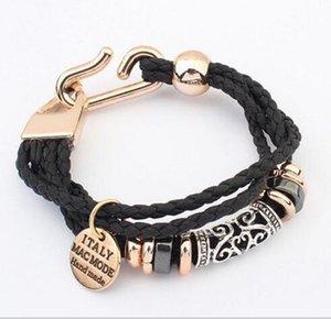 Womens Mens Punk handgemachte mehrschichtige geflochtene PU-Leder Seile wickeln Armband Vintage Charm Armbänder stricken Schmuck Mode-Accessoires