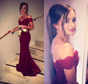 Burgundy Mermaid Prom Dresses Off Shoulder Appliques Sweep Train Long Formal Evening Party Gowns Special Occasion Dress Bridesmaid Dress