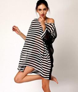 Yaz mayo smock dress kadınlar şifon siyah şerit maxi beach dress mayo coverup dress seksi plaj elbiseleri