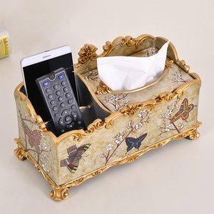 Großhandels-Multifunktionspumpen Papier Box Desktop Fernbedienung Aufbewahrungsbox Mode Vintage Harz Serviette Tissue-Box