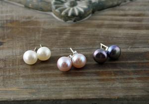 JLN Orecchini a bottone a forma di perla d'acqua dolce con orecchini in argento sterling 925 Orecchini a bottone con pavone rosa lavanda rosa