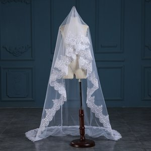 3 Metre Katedrali Uzunluğu Gelin Veils Beyaz Fildişi Dantel Aplike Kenar Uzun Düğün Veils Ucuz Gelin Aksesuarları 3 Metre Uzun CPA888