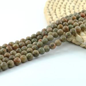 China Unakite Beads Natural Multicolor Unakite granos redondos Semipreciosa piedra preciosa 4/6/8 / 10mm Full Strand 15 '' rebordear suministros L0134 #
