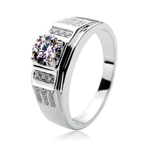 Brilliant Quality 0.85CT Synthetic Diamond Male's Engagement Ring Solid Sterling Silver Fine Jewelry With Ring Box