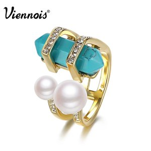 Viennois Bohemian Gold Color Rings For Women Vintage Double Simulated Pearls & Simulated Turquoise Female Finger Ring q170684