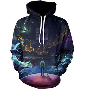 Wholesale-6 Patterns Fashion Galaxy 3D Printing Men's sportswear M To 4XL Hip Hop Fashion Pull Over Winter Hoodies With Cap And Pocket