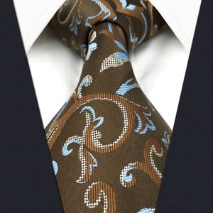 A29 Brown Azure Floral Ties for male Silk Fashion Classic Jacquard Woven Mens Necktie Dress Brand New