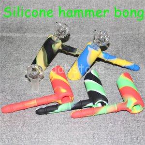 Silicone Smoking Showerhead Bong Silicone Bubblers Recycleur 18.8mm Bubbler Silicone Marteau Narguilés Incassable Avec 18.8mm Bol En Verre DHL