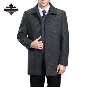 Wholesale- Mens Wool Coat In The Long Section Turn-Down Collar Single Breasted Men's Woolen Coat Thicken Winter Wool Overcoat XXXXL XXXL