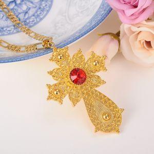 Sky talent bao NOUVEAU Ethiopian Big crystal Colliers Pendentif Croix., Or GF Erythrée Bijoux Ethiopie Ethniques Religieux Croix