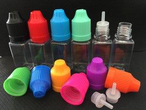 Bunte E Cigs-quadratische Flaschen-Plastiktropfflaschen 10ml 30ml mit Kindersicheren Kappen für Eliquid E-Saft leere Flaschen DHL geben Verschiffen frei