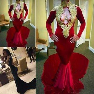 Elegante longo vestidos de baile 2017 sexy high neck girl preto backless sereia de veludo borgonha africano prom dress lace ouro