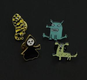 Японский мультфильм милый эмаль брошь студент ювелирные изделия ведьма зебра собака длинный нос странно падение глазури брошь булавки значок Pinback кнопка корсаж