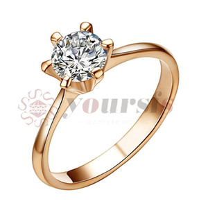 Yoursfs Classic Best Lovers Gift Whited Gold Plated Use Austria Crystal Simulation of Diamond 1ct Bridal wedding rings for Women Gift R059W1