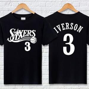 Frete Grátis Iverson No.76 T-shirt de Algodão 3 Carta Ptinted Manga Curta de Basquete de Verão Esportes Meia Manga Solta Terno de Treinamento